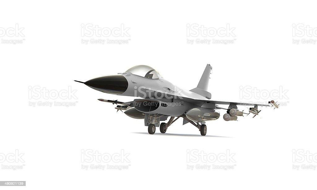 white F-16 isolated on stock photo