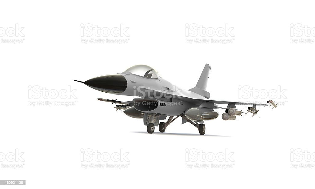 white F-16 isolated on stock photo