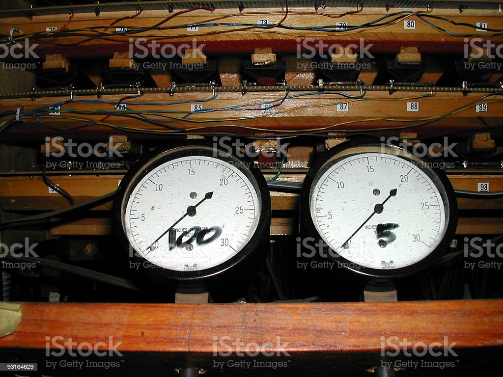 2 white faced gauges royalty-free stock photo