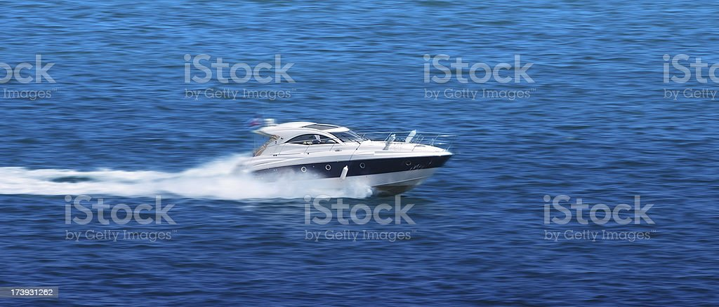 White fast speedboat. stock photo