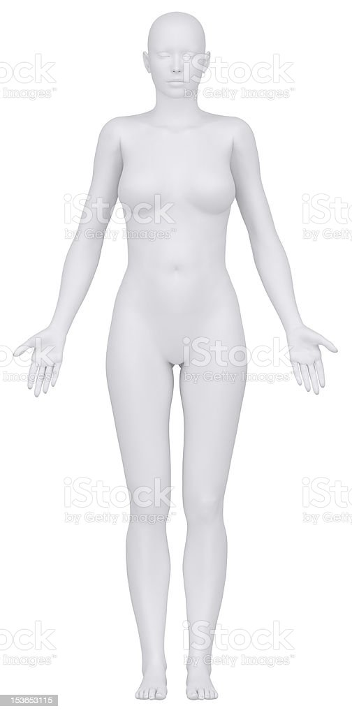 White female figure in anatomical position royalty-free stock vector art