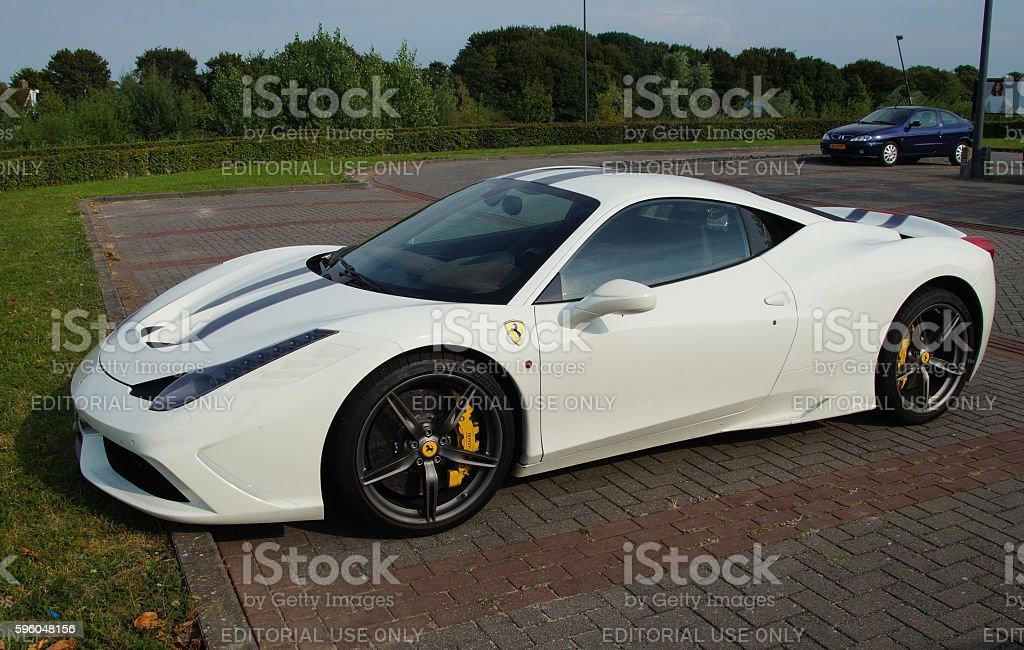 White Ferrari 458 Italia stock photo