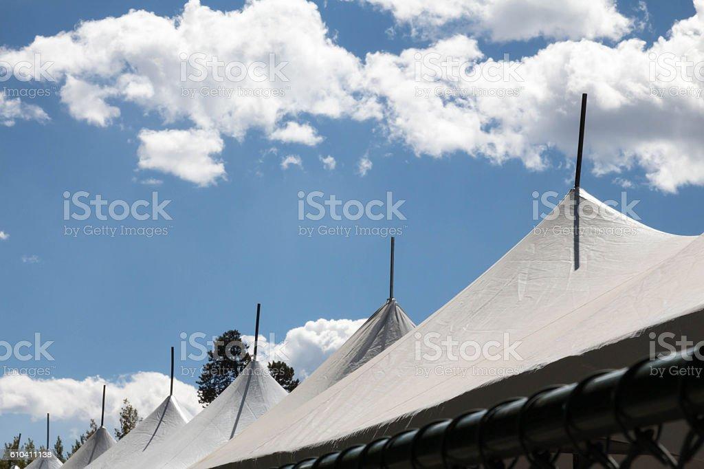White festival test against blue sky stock photo