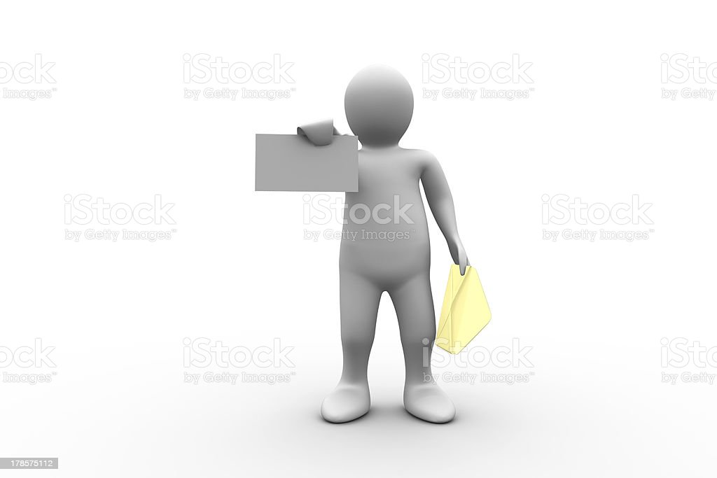 White figure holding a brown envelope and letter royalty-free stock photo