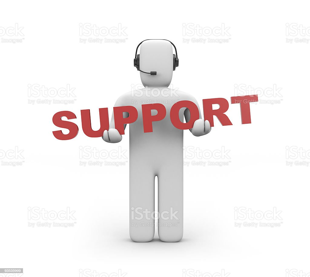 White figure holding red support sign royalty-free stock photo