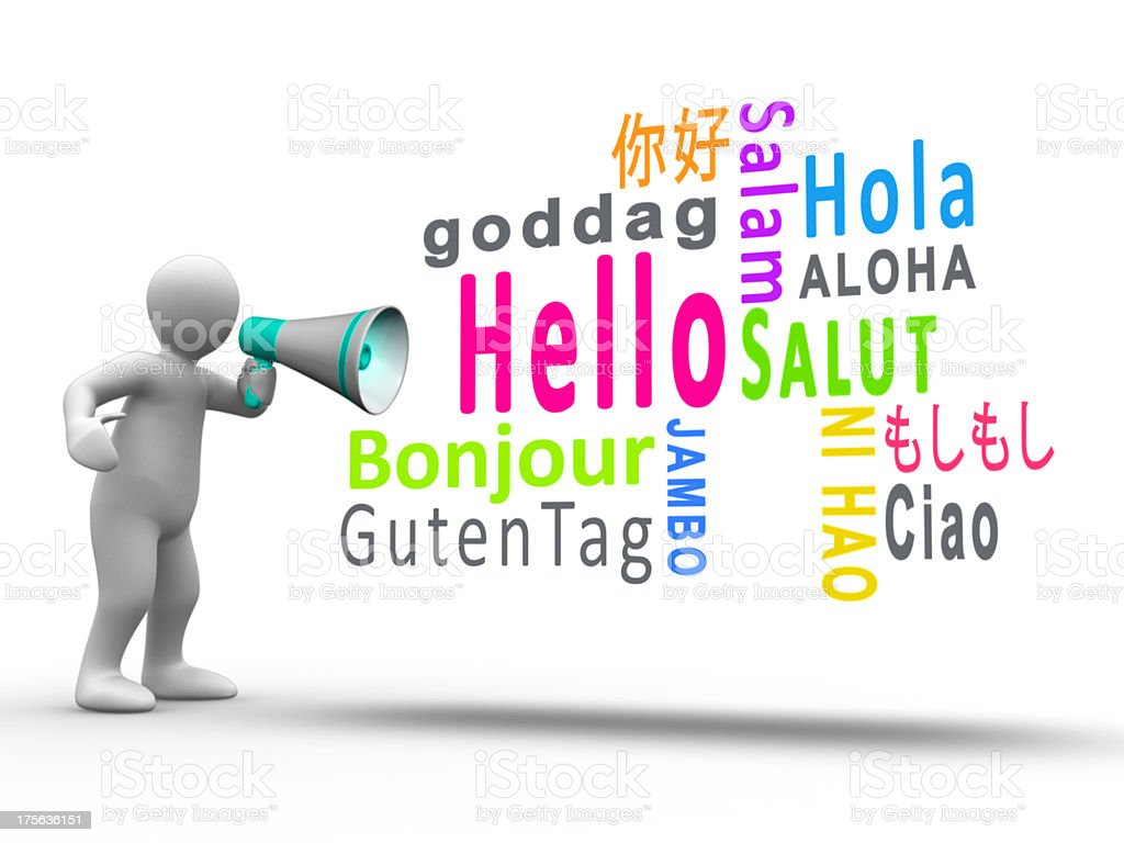 White figure revealing hello in different languages with a megap royalty-free stock photo