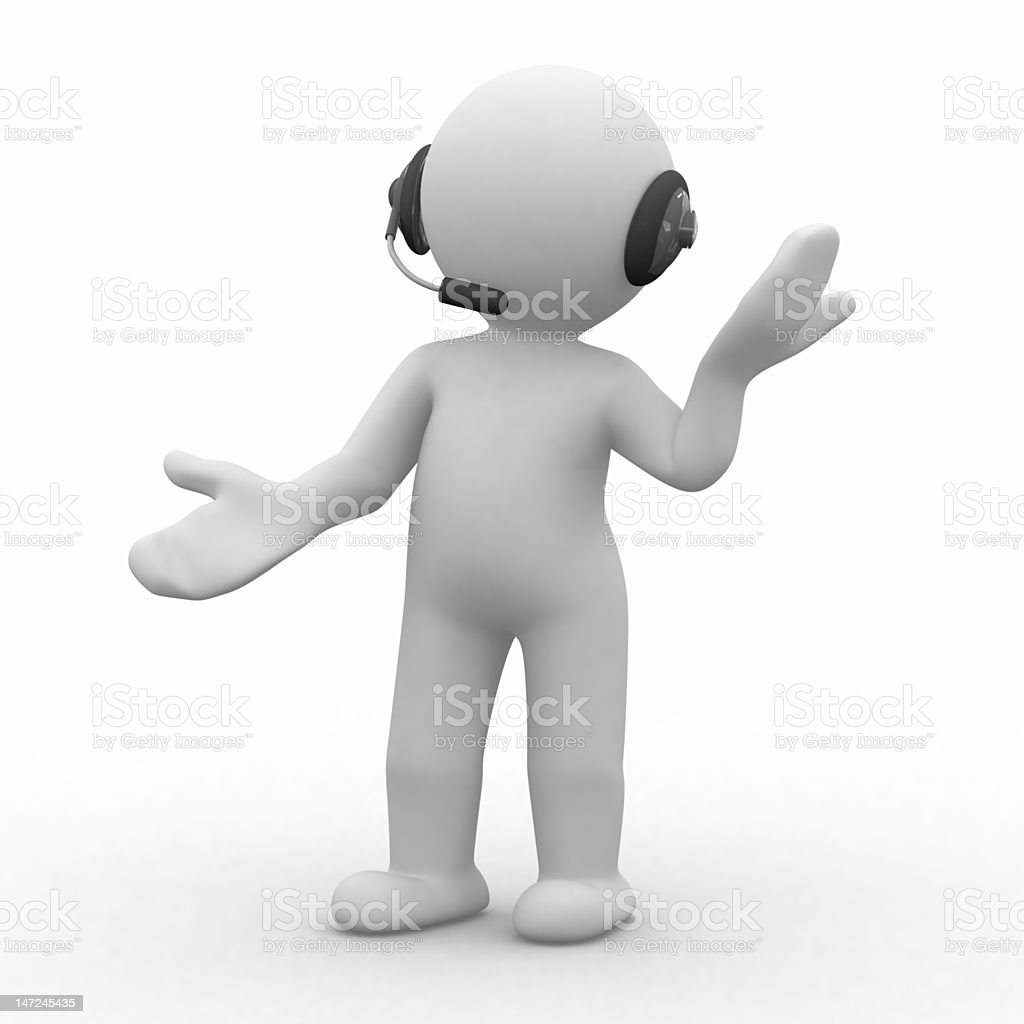 A white figure with headphones on stock photo