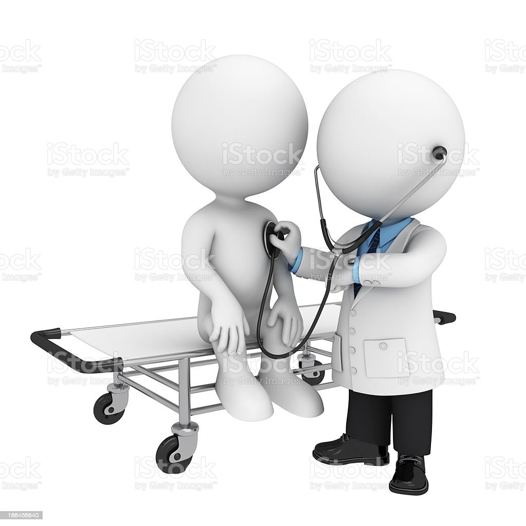 3D white figures acting as doctor and patient royalty-free stock photo
