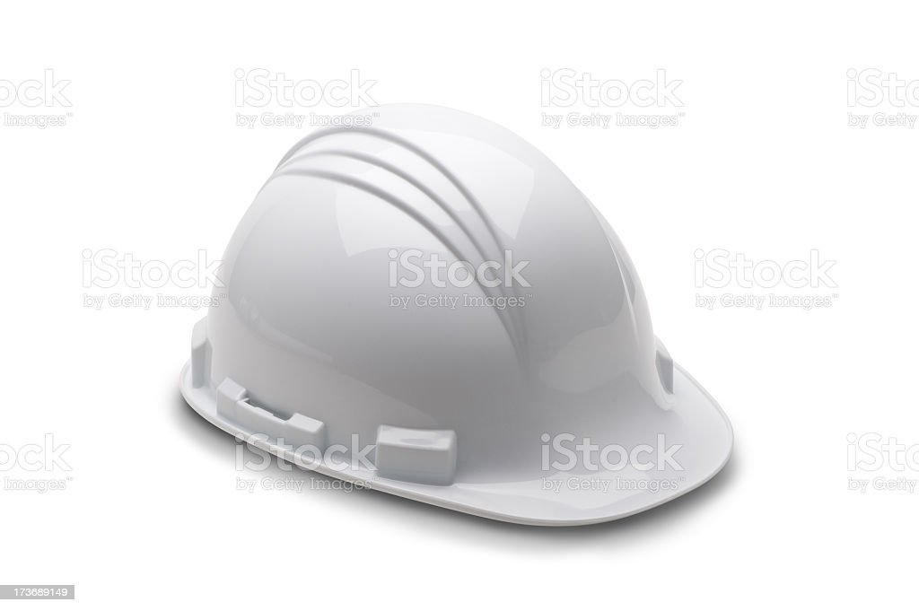 A white fire man's hard hat on a white background stock photo