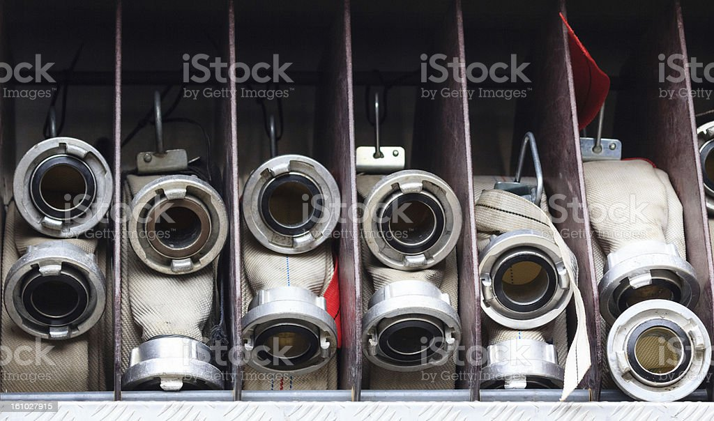 White firehoses royalty-free stock photo