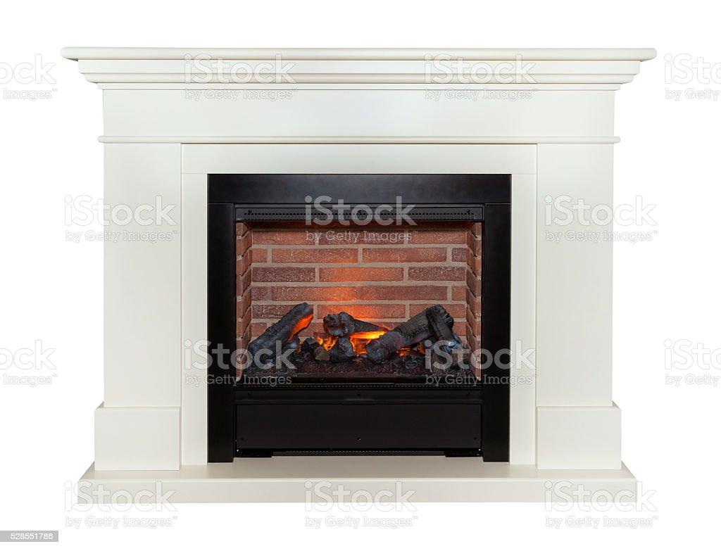 White fireplace isolated on white background stock photo
