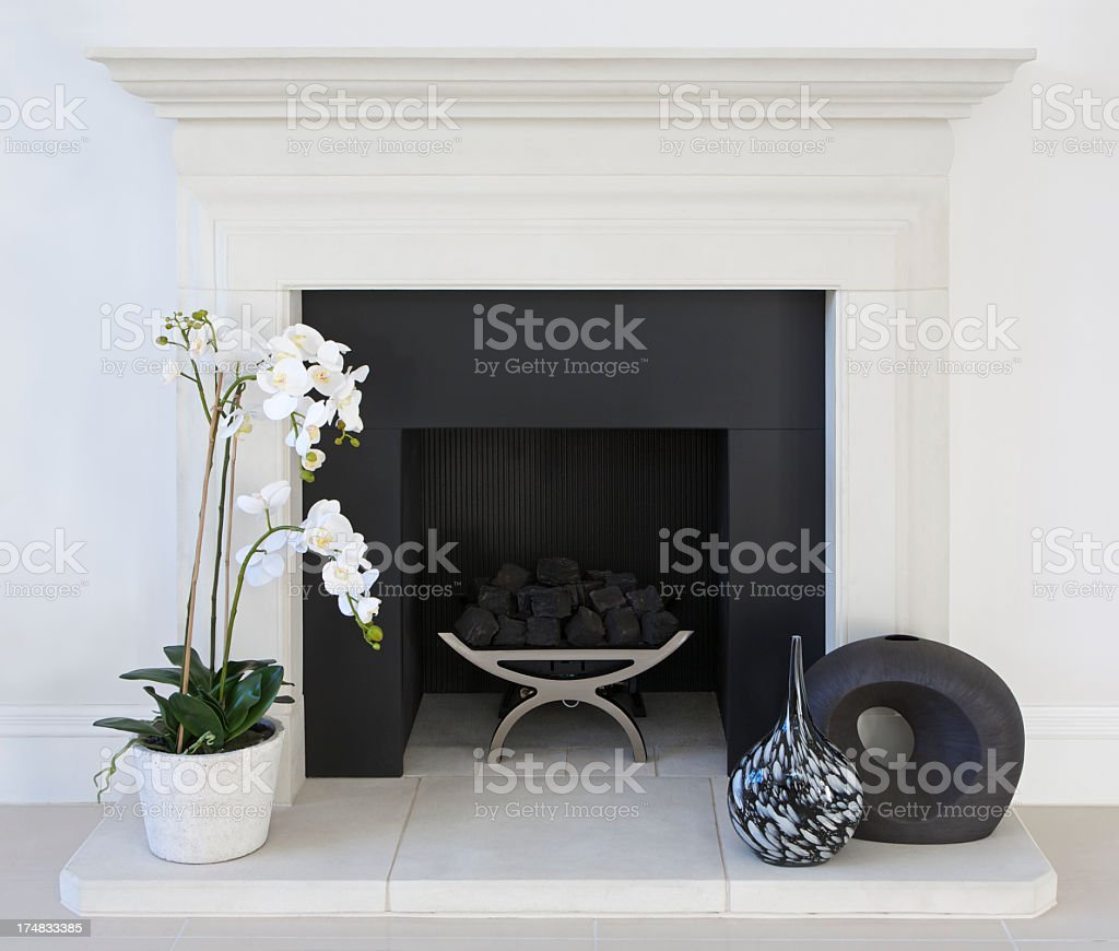 white fireplace stock photo