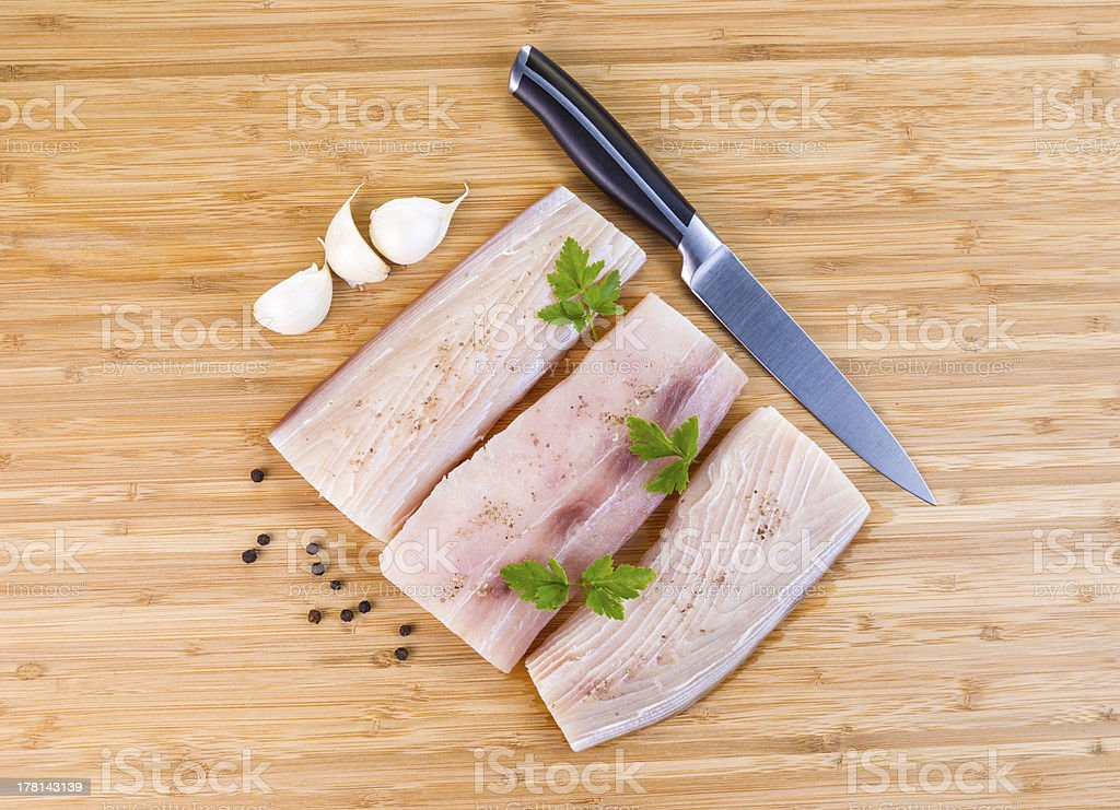 White Fish Fillets being prepared for Cooking royalty-free stock photo