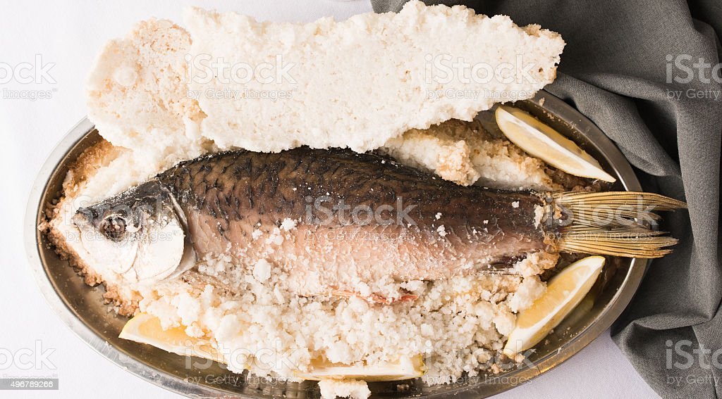 White fish in salt stock photo