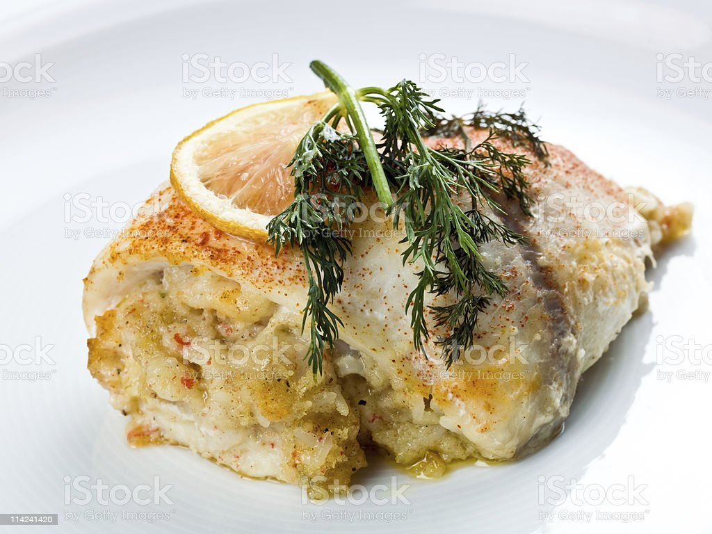 White fish stuffed with crab meat royalty-free stock photo