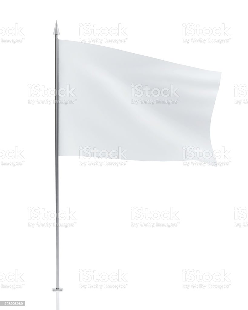 White Flag Isolated on White Background stock photo