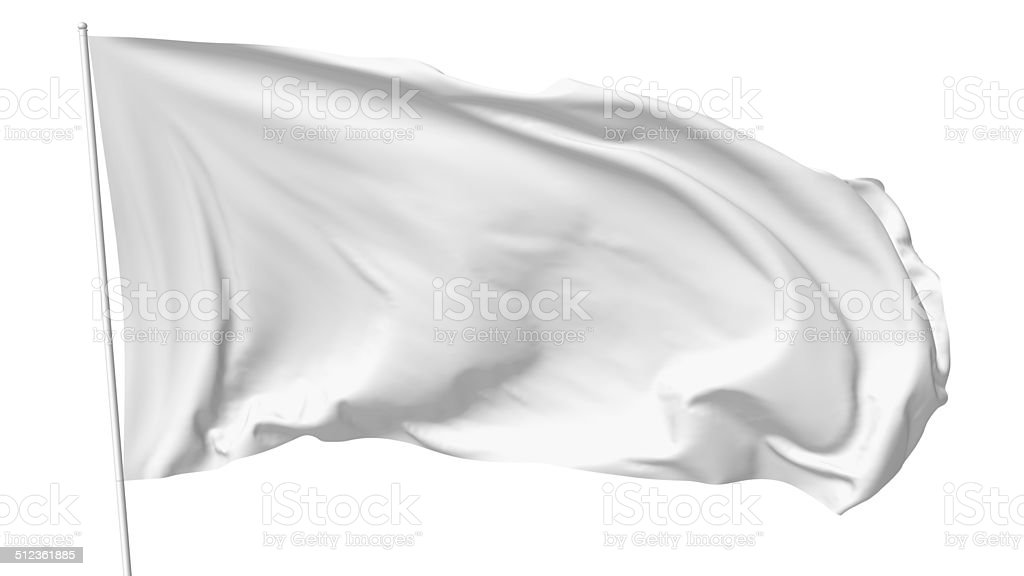 White flag on flagpole stock photo