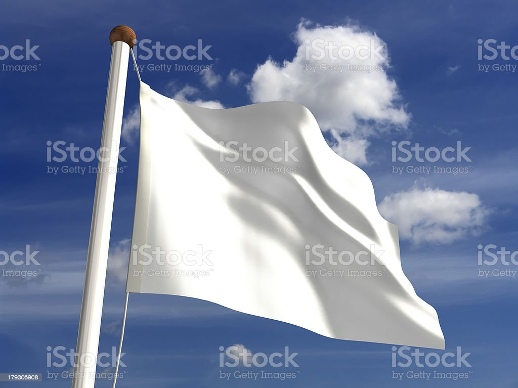 White flag (with clipping path) stock photo