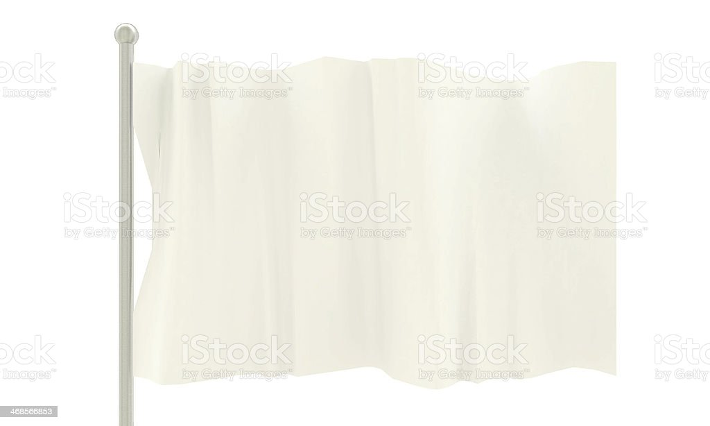 White flag waving in the wind on a silver pole  stock photo