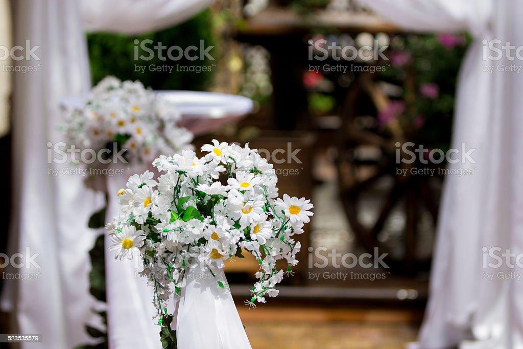 White flower decoration wedding ceremony royalty-free stock photo