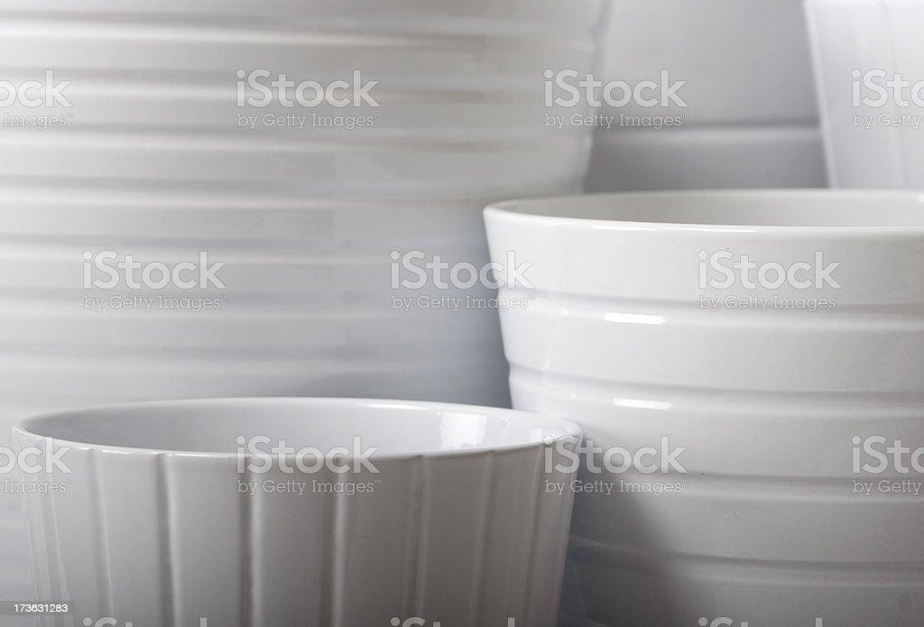 white flower pots 2 royalty-free stock photo