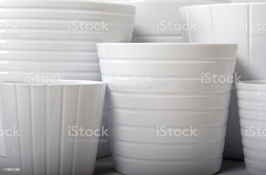 white flower pots 3 royalty-free stock photo