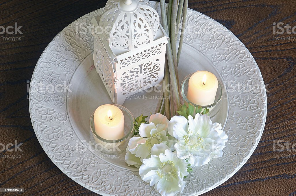 White flowers and candles from above royalty-free stock photo