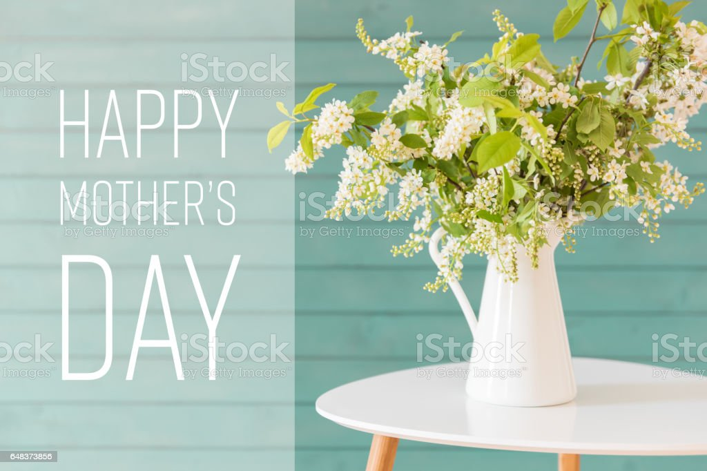 White flowers in a vase, Mother's day concept stock photo