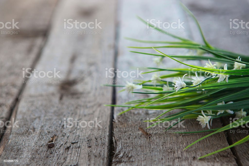 white flowers on wooden background stock photo