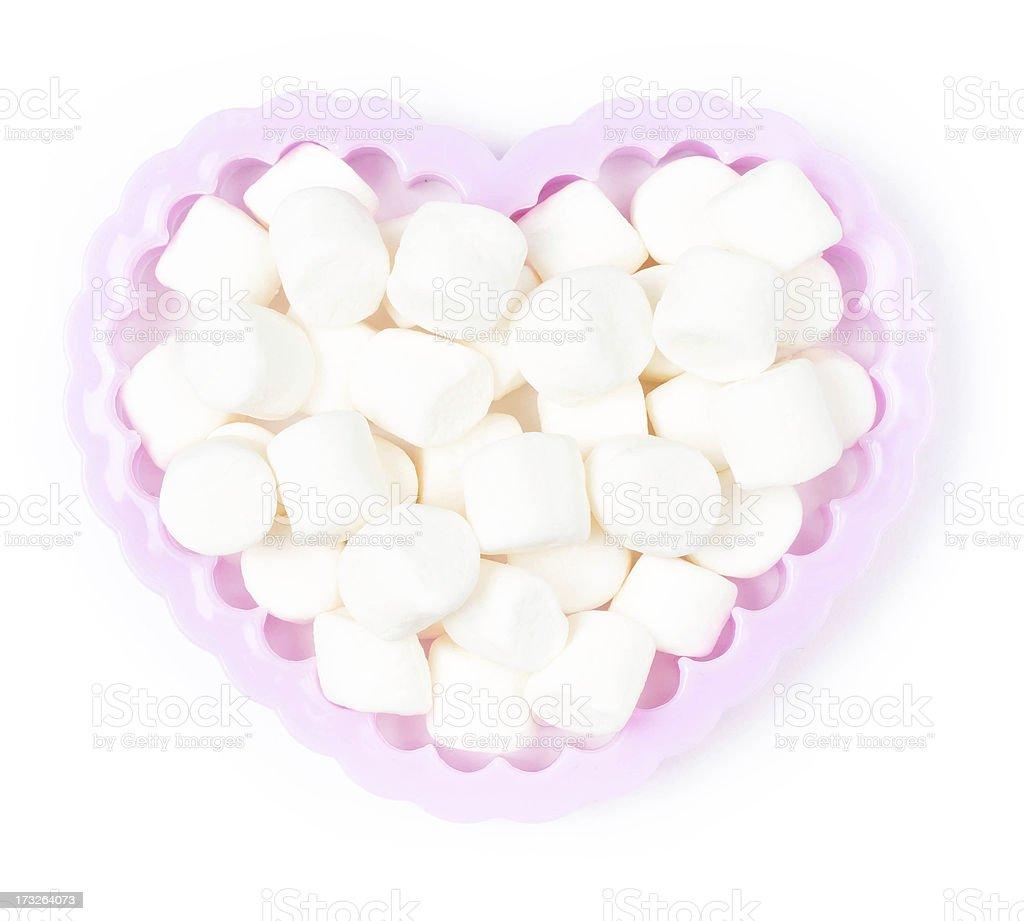 White Fluffy mini Marshmallow in heart shape royalty-free stock photo