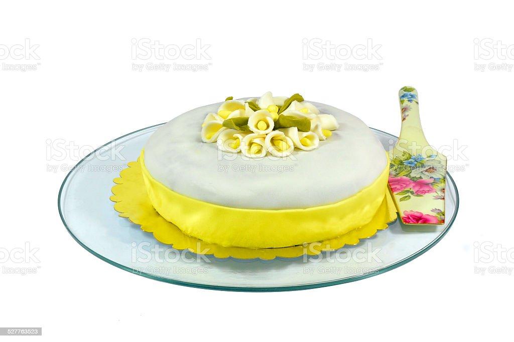 White Fondant Cake stock photo