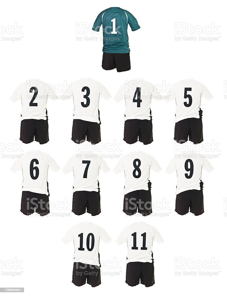 White Football team shirts royalty-free stock photo