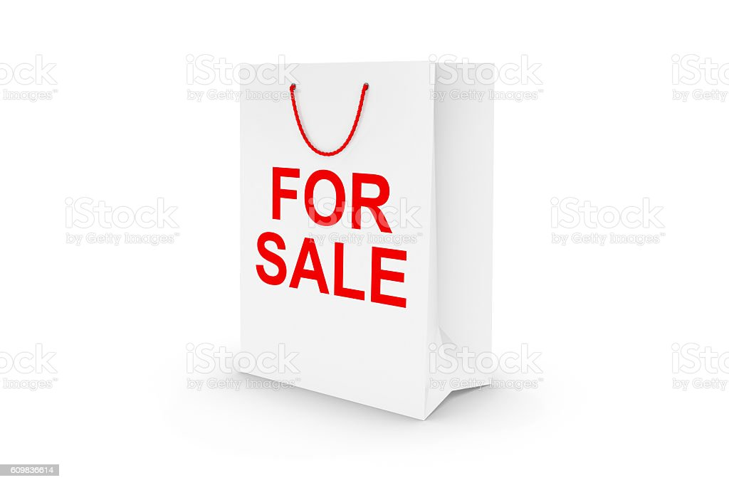 White FOR SALE Paper Shopping Bag Isolated on White stock photo