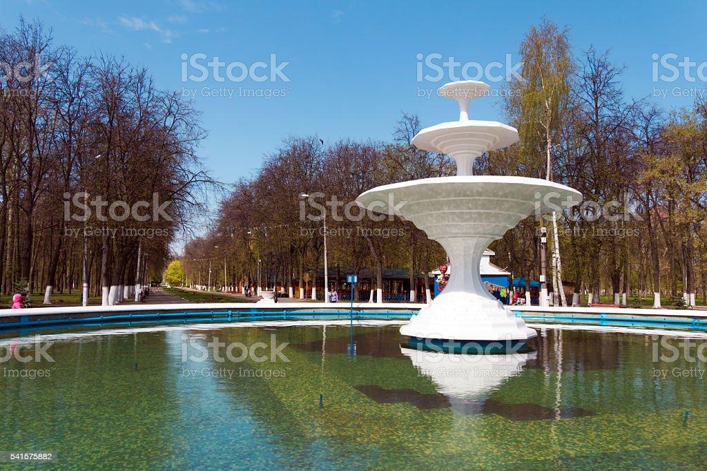 White fountain in the park of the city Nizhny Novgorod stock photo