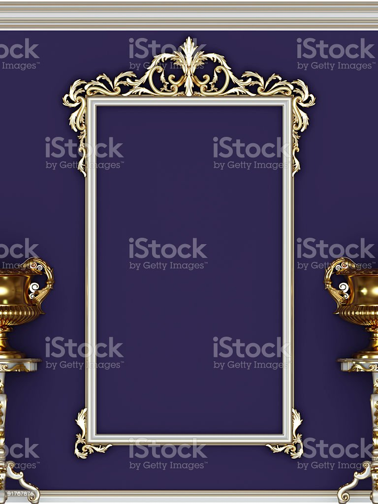White frame and gold vases royalty-free stock photo