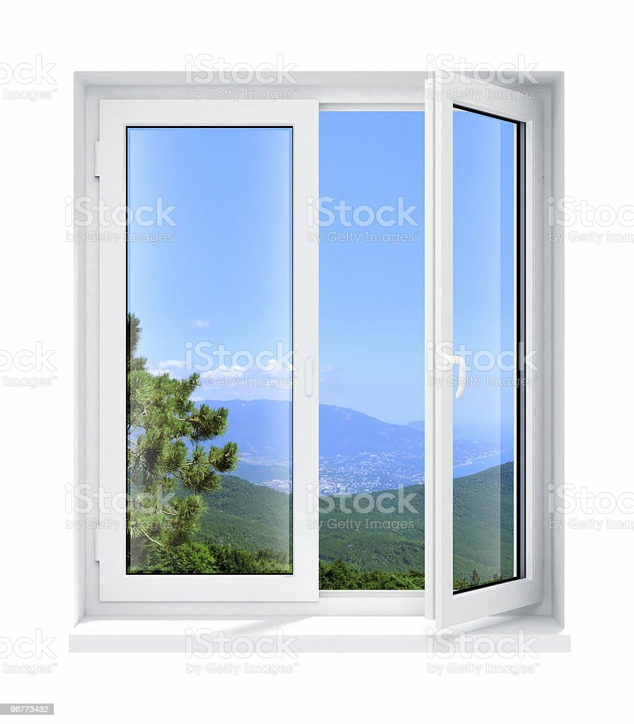 White framed glass window opening to the outdoors royalty-free stock photo