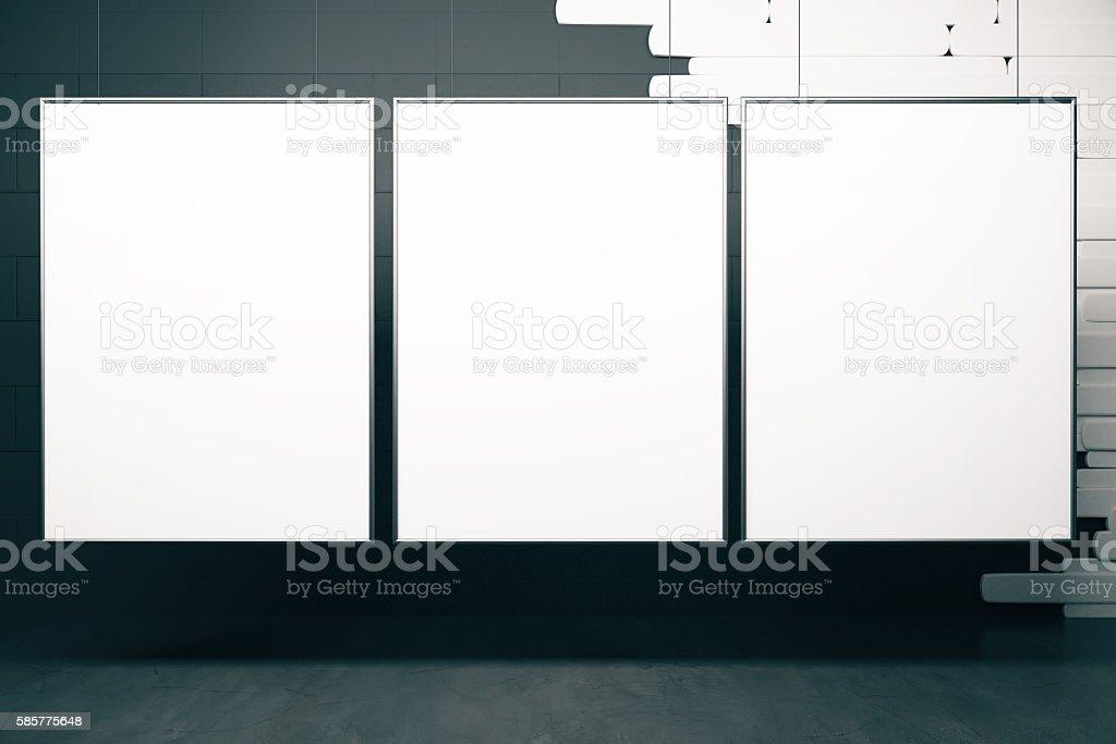 White frames in black interior stock photo