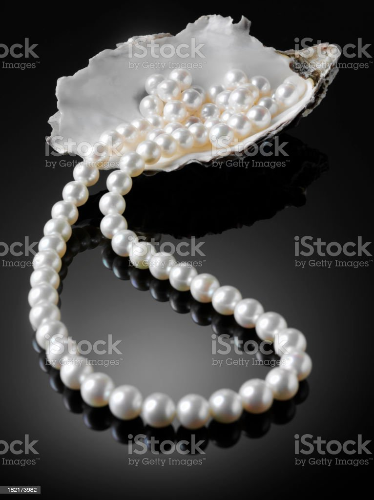 White Freshwater Pearl Necklace stock photo