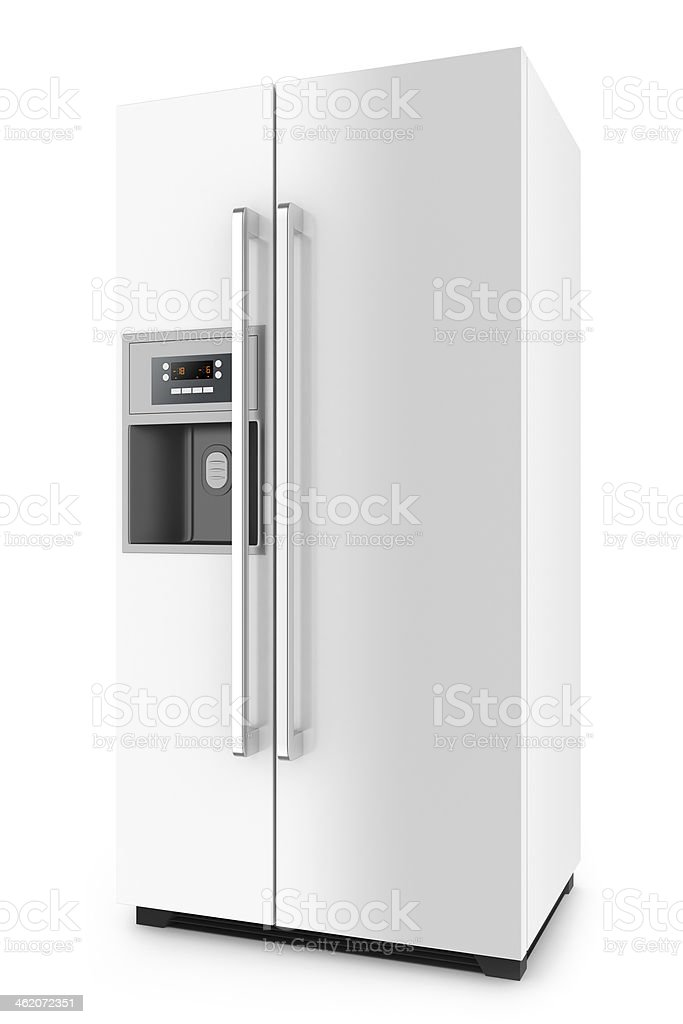White fridge with side-by-side door system stock photo