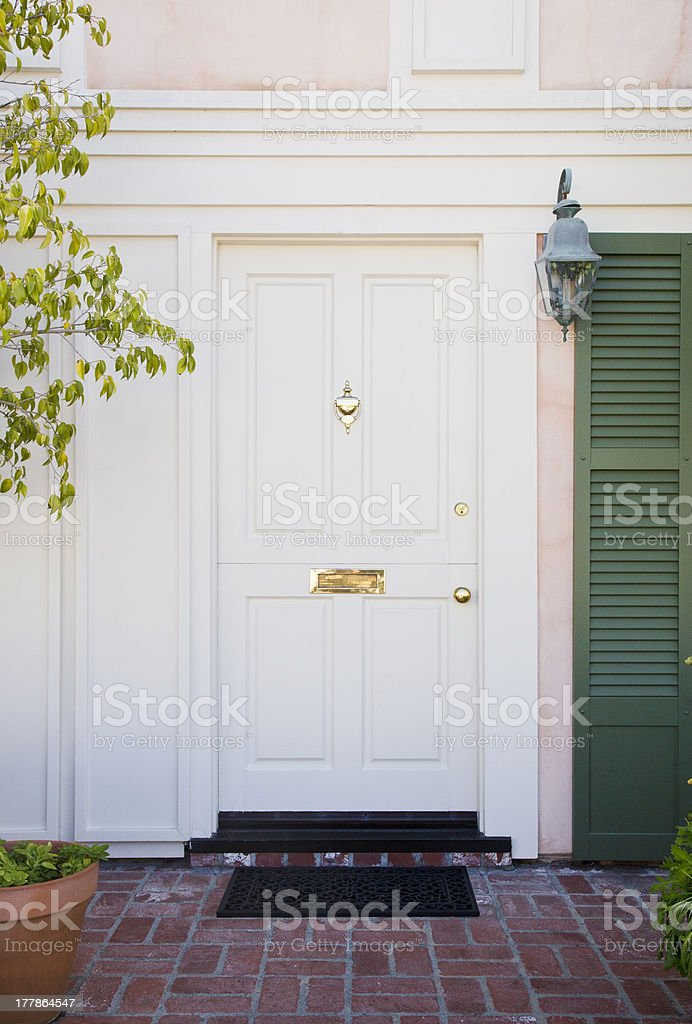 White Front Door of an upscale home stock photo