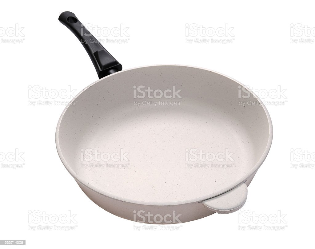 White frying pan with ceramic coating stock photo