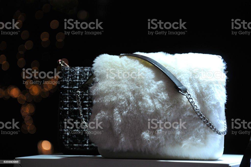 White fur Handbag stock photo