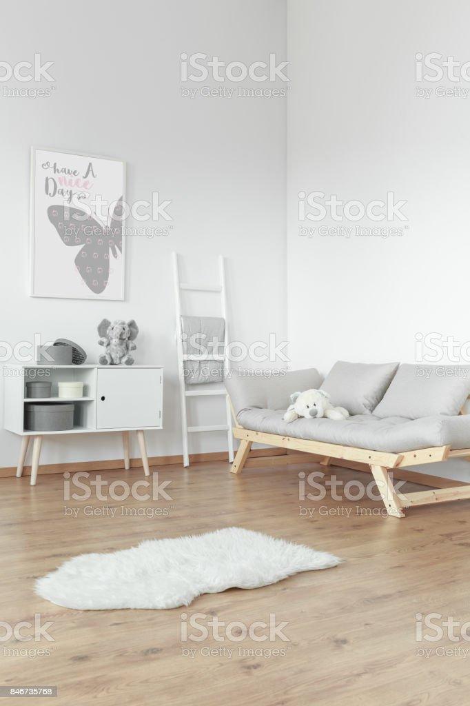 White fur on floor stock photo