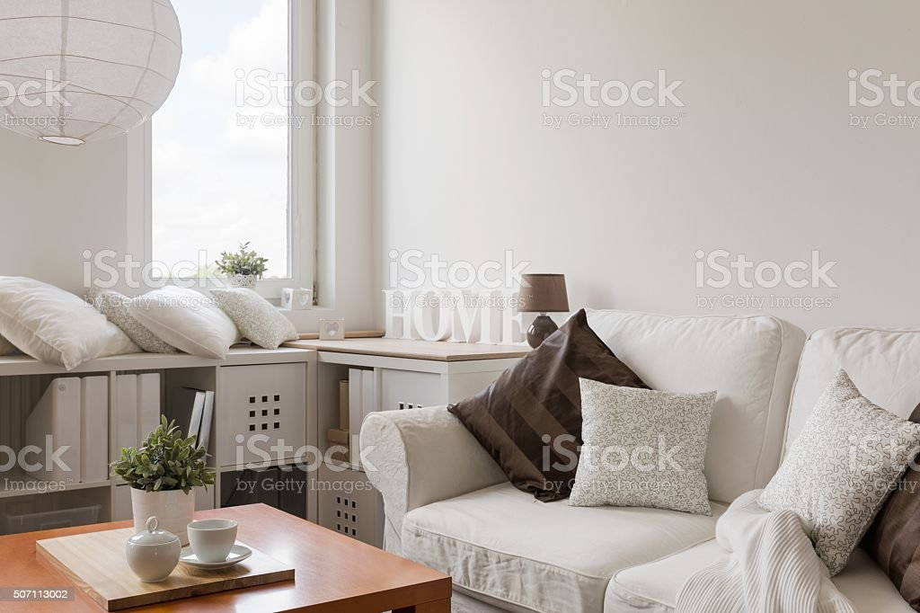 White furniture in contemporary lounge stock photo