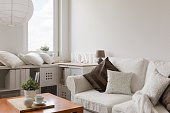 White furniture in contemporary lounge