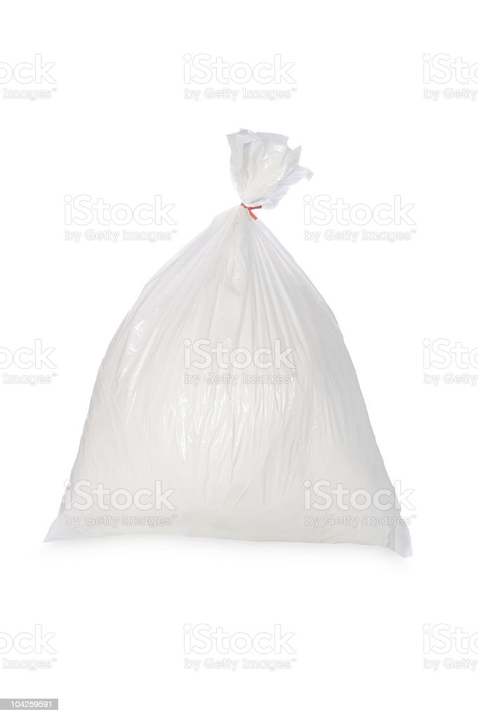 White garbage bag stock photo
