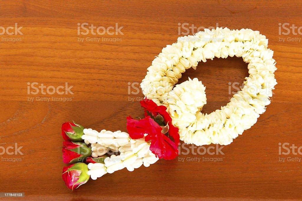 White garland for worship buddha in Thailand royalty-free stock photo