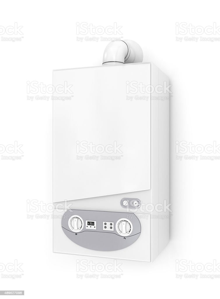 White gas boiler. stock photo