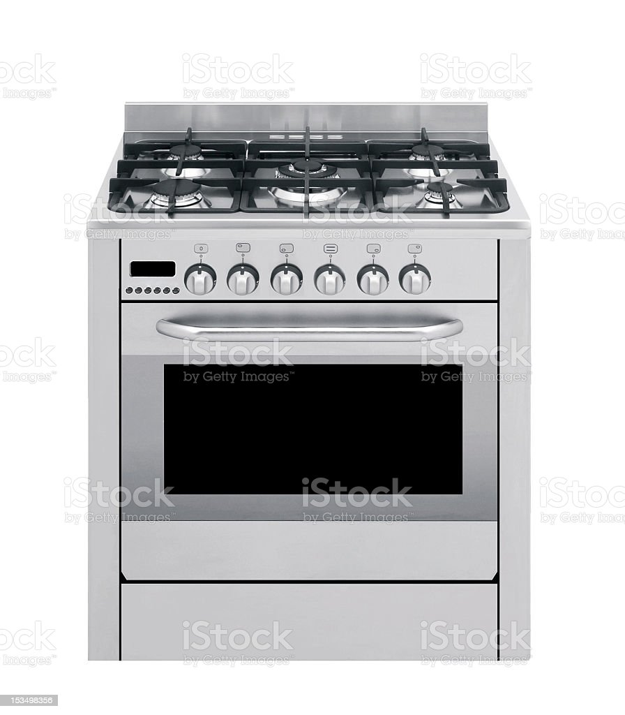 white gas cooker isolated stock photo