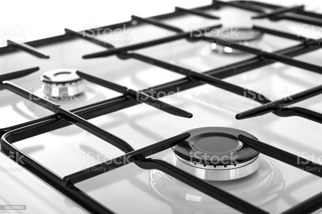 White gas stove isolated on a white background stock photo